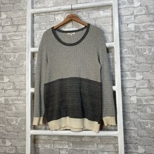 Madewell Gray Colorblock Linear Sweater Size Large
